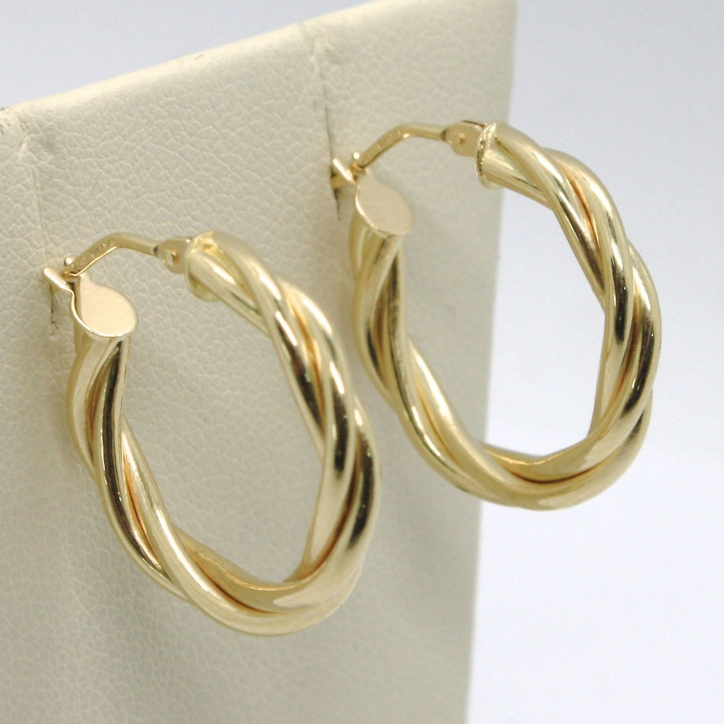 18K YELLOW GOLD CIRCLE HOOPS DOUBLE TUBE TWISTED EARRINGS 22 MM x 3.5 MM, ITALY