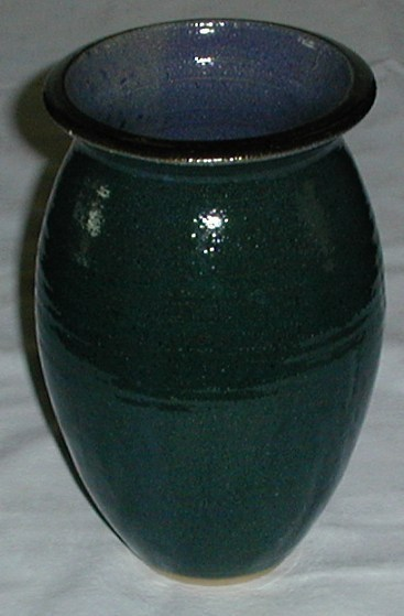 Hand Coiled Pottery Vase Dark Blue Green