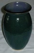 Hand Coiled Pottery Vase Dark Blue Green - $5.00