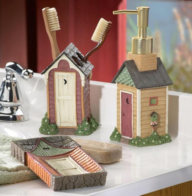 Country outhouse soap dish toothbrush holder soap for Bathroom decor collections
