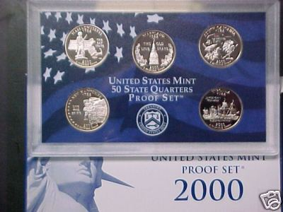 2000 S State Quarter Proofs - 5 Beautiful Proof Coins