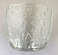 4 Christmas Candle Holder Kig Indonesia Clear Pressed Molded Glass Cup Reindeer image 2