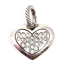 Brighton Amore Heart Charm, J91622 Silver Finish, Clear Crystals New - $19.94