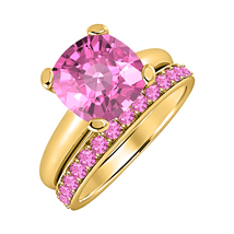 Cushion Cut Pink Sapphire 14kYellow Gold Over 925 Silver Engagement Bridal Ring  - $84.96