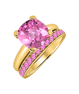 Cushion Cut Pink Sapphire 14kYellow Gold Over 925 Silver Engagement Brid... - $72.22