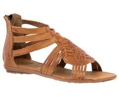 Womens Light Brown Authentic Mexican Huarache Leather Ankle Sandals Zip ... - £25.14 GBP