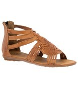 Womens Light Brown Authentic Mexican Huarache Leather Ankle Sandals Zip ... - $34.95