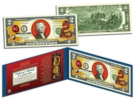 Chinese 12 Zodiac YEAR OF THE SNAKE Colorized USA $2 Dollar Bill Certified - $18.50