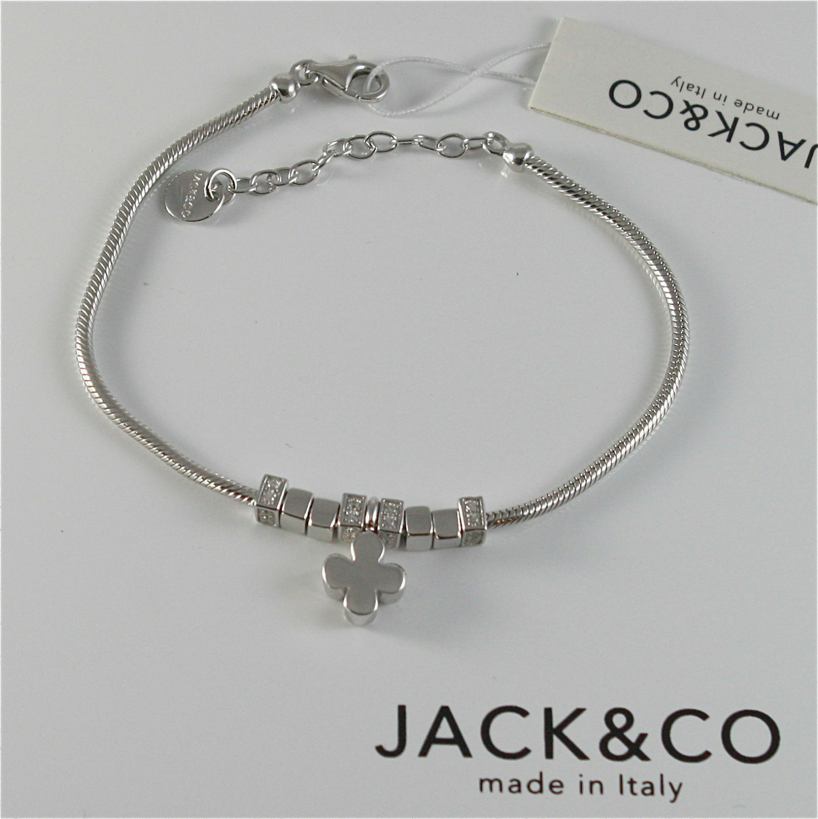 Silver 925 Bracelet Jack&co with Star Dog Butterfly Four-Leaf Clover or Cat