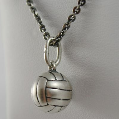 925 Sterling Silver Necklace Burnished Pendant Ball Volleyball Made in Italy