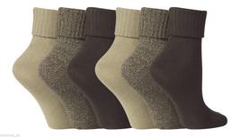 6 Pair Ladies Jennifer Anderton Soft Turn Over Socks 4-8 uk 37-42 Eur Browns - $12.81