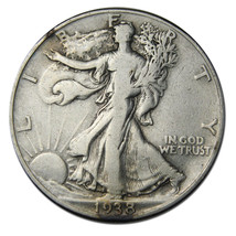 1938D Walking Liberty Silver Half Dollar Coin Lot #  F 404