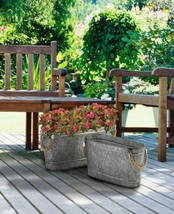 2 Oval Bucket Planters Galvanized Metal w/ Rope Handles 1 Large & 1 Small  - $45.49