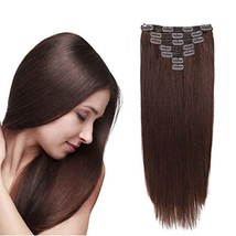 Clip in Hair Extensions Remy Human Hair for Women Straight Double Weft No Tangli