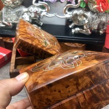 Twin square shaped exotic hand carved thuya wooden boxes, valentine gift... - $79.48