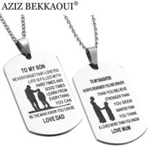 TO MY SON DAUGHTER Stainless Steel Pendant Necklaces Engrave Name Love D... - $244,44 MXN