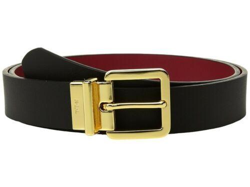 Lauren Ralph Lauren Dryden Reversible Casual Belt (Black/Crimson/Gold, XL)
