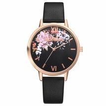 Women Watch Leather Strap Casual Love Flowers Dress Quartz Luxury Wristw... - $9.99
