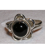 Black Onyx & Sterling Silver Daisy Ring size 9 - $24.00