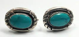 Vtg Native American Navajo Sterling Silver Turquoise Hand Made Earrings ... - $99.99