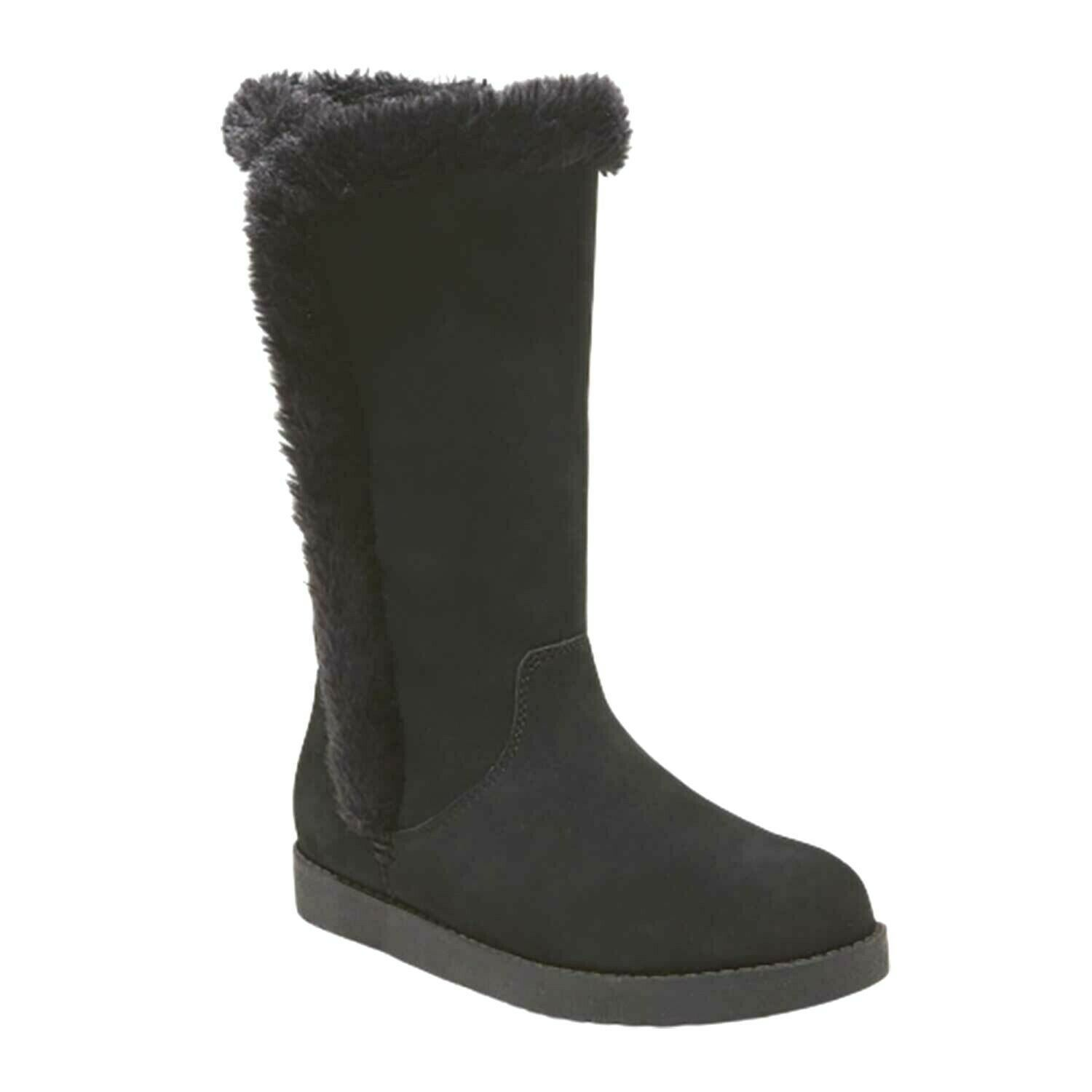 Universal Thread Women's Daniela Black Genuine Suede Faux Fur Tall Winter Boots