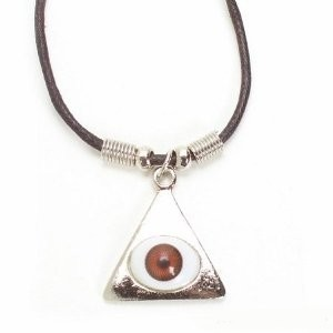Evil Eye Pyramid Eye Necklace NEW cord - BROWN EYE - NEW IN PACKAGE