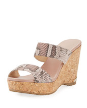 Jimmy Choo Parker Snake-Print Platform Wedge Slide Sandals  $450.00 Size 41 - $296.99