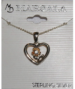 Rose and Heart Sterling Silver Pendant and Chain - $11.00