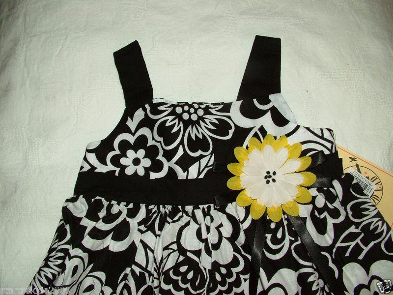 Good Lad Baby Girl Black&White Floral Dress,18 Mo, NWT