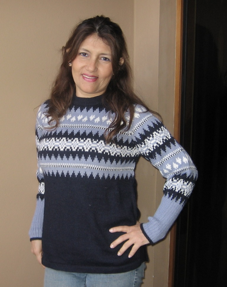 Soft sweater knitted of alpaca wool, blue colors, all sizes