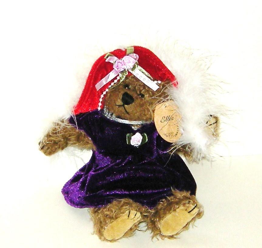 50% off! Plush Image Ellis Red Velvet Hat Purple Dress Plush Bear NWT