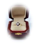 Genuine Amethyst and Diamond 10kt Yellow Gold R... - $125.00