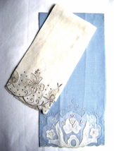 Two Vintage Madeira Blue and White Linen Embroidered Organdy Tea Towels ... - $24.00