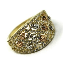 SOLID 18K YELLOW WHITE ROSE GOLD BAND RING WITH CUBIC ZIRCONIA, FACETED BALLS image 1