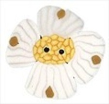"White Dogwood 2266 handmade clay button .75"" JABC Just Another Button - $1.60"