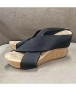 "Lucky Brand black Cork Wedges 8 Elastic straps Slip on Casual 4"" high op... - $30.57"