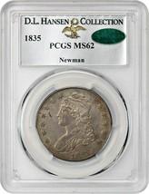 1835 50c PCGS/CAC MS62 ex: Newman/D.L. Hansen - Nice and Original! - $2,007.90
