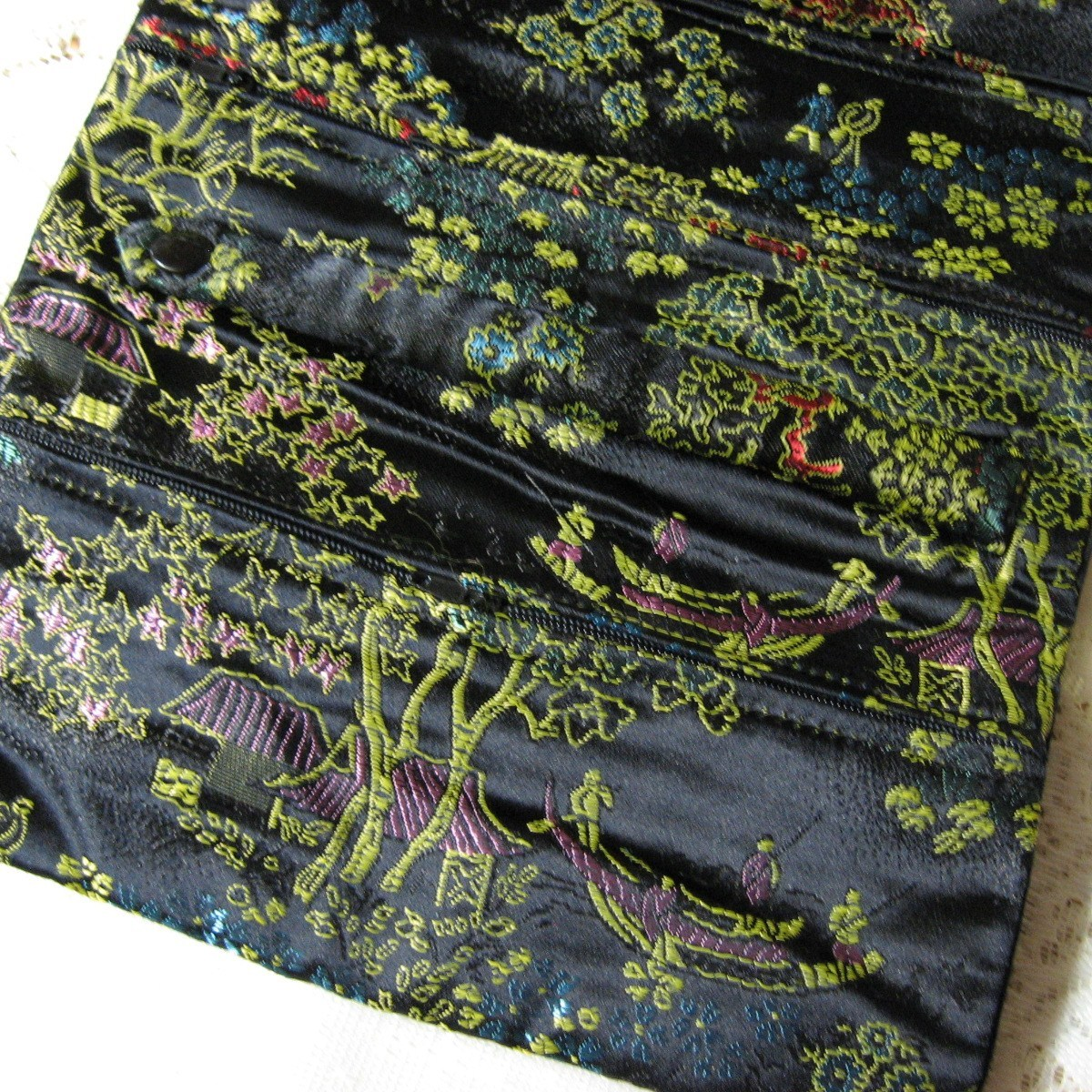 Large Black Print Satin Brocade Jewelry Roll