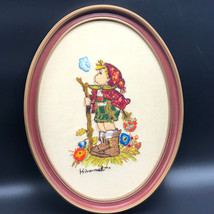 HUMMEL CROSS STITCH Peasant boy wall hanging 1980 picture frame W German... - $39.55