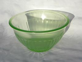 Vint Anchor Hocking Green Uranium Vaseline Dep Glass Paneled Mixing Bowl - $17.99
