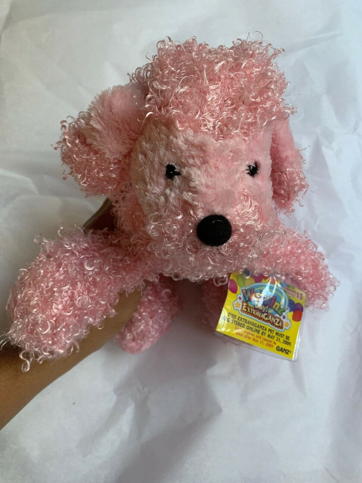 "7"" Ganz Webkinz Pink Poodle HM107 Plush Stuffed Animal W Used CODE Clean Cond"
