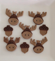 Moose and acorn fondant cupcake topper - $34.00