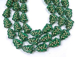 12 Czech Glass Christmas Trees Beads : Emerald - Gold Inlay 17x12mm - $13.85
