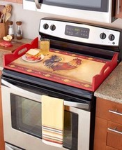 Stove Top Burner Cover Protector Serving Tray Wood Decorative Rooster Re... - $45.99