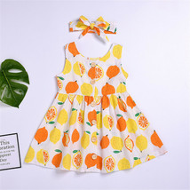 NWT Girls Lemon Citrus White Yellow Orange Sleeveless Dress & Headband Set - $10.99