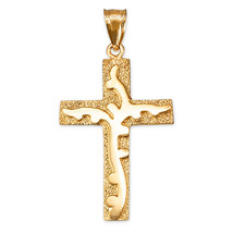 Yellow Gold Flaming Cross Pendant - $199.99