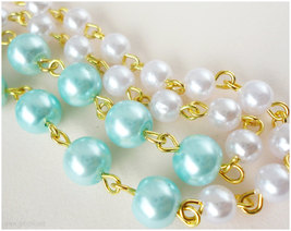 Rose Cameo Necklace, White and Teal Beaded Pearl Chain in Gold - Sweet Lolita image 3