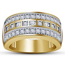 14k Yellow Gold Finish 925 Solid Silver Mens Sim Diamond Wedding Engagem... - $98.99