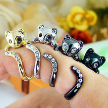 Womens Kitty Cat Ring Crystals Adjustable Free Size Wrap Ring Kitten Gif... - $16.20