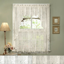 "Hopewell Heavy Lace Floral Kitchen Curtain 24"" Tier Pair, Valance & Swag... - $30.99"